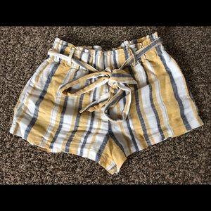 Paper bag tie waist shorts